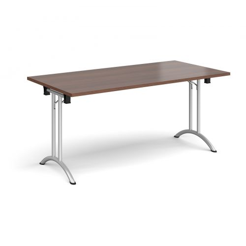 Rectangular folding leg table with silver legs and curved foot rails 1600mm x 800mm - walnut