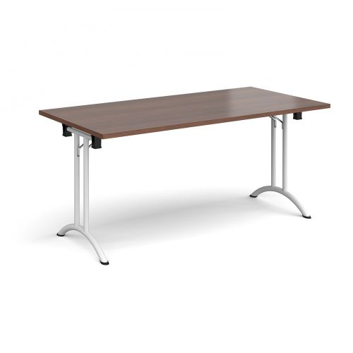 Rectangular folding leg table with white legs and curved foot rails 1600mm x 800mm - walnut