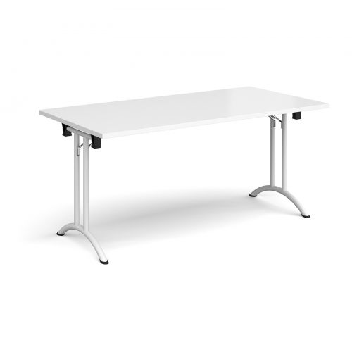 Rectangular folding leg table with white legs and curved foot rails 1600mm x 800mm - white