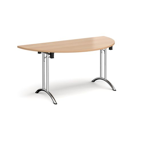 Semi circular folding leg table with chrome legs and curved foot rails 1600mm x 800mm - beech