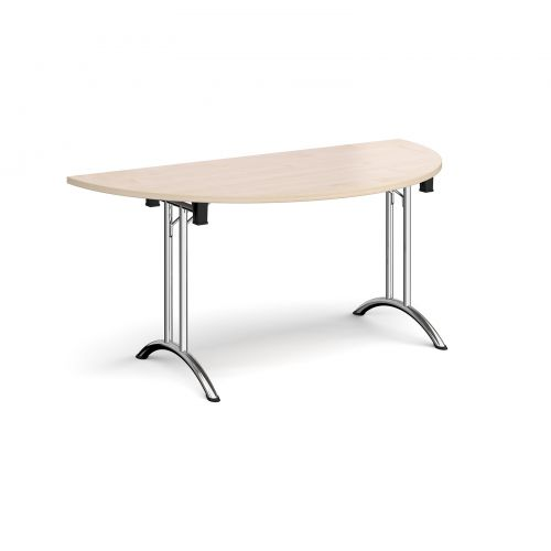Semi circular folding leg table with chrome legs and curved foot rails 1600mm x 800mm - maple