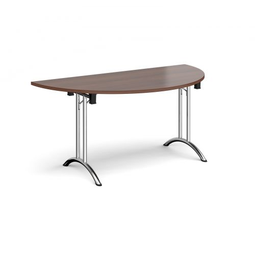 Semi circular folding leg table with chrome legs and curved foot rails 1600mm x 800mm - walnut