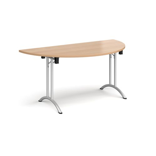 Semi circular folding leg table with silver legs and curved foot rails 1600mm x 800mm - beech