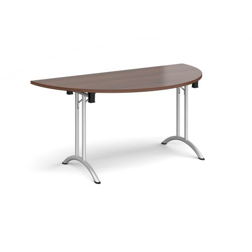 Semi circular folding leg table with silver legs and curved foot rails 1600mm x 800mm - walnut