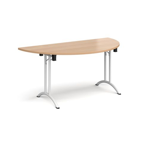 Semi circular folding leg table with white legs and curved foot rails 1600mm x 800mm - beech
