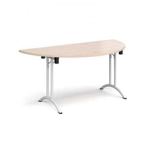 Semi circular folding leg table with white legs and curved foot rails 1600mm x 800mm - maple