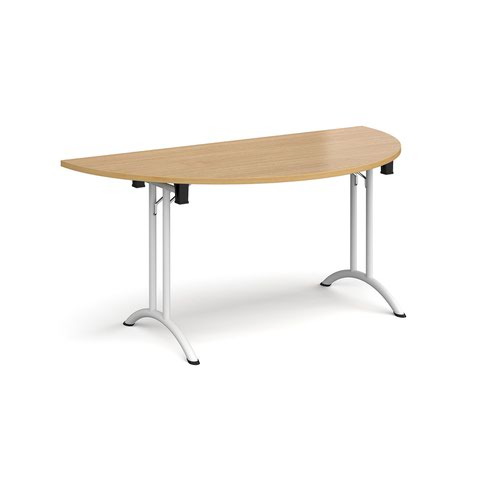 Semi circular folding leg table with white legs and curved foot rails 1600mm x 800mm - oak