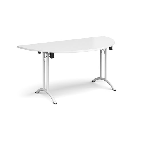 Semi circular folding leg table with white legs and curved foot rails 1600mm x 800mm - white