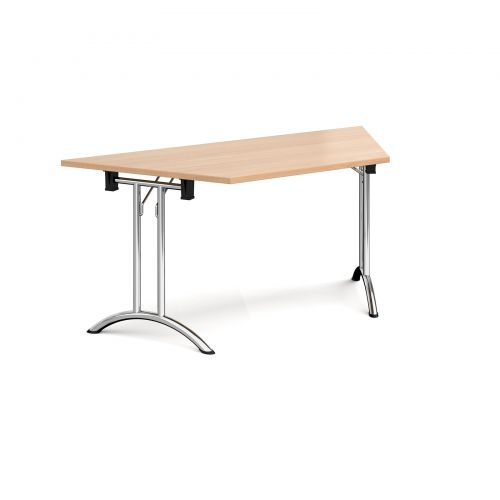 Trapezoidal folding leg table with chrome legs and curved foot rails 1600mm x 800mm - beech