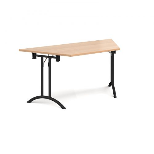 Trapezoidal folding leg table with black legs and curved foot rails 1600mm x 800mm - beech