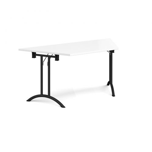 Trapezoidal folding leg table with black legs and curved foot rails 1600mm x 800mm - white