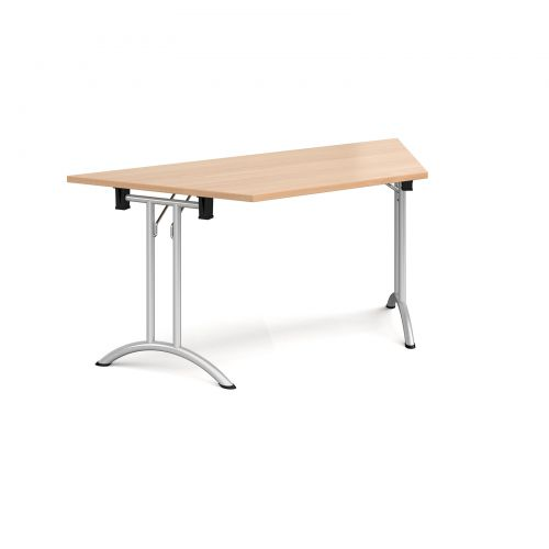 Trapezoidal folding leg table with silver legs and curved foot rails 1600mm x 800mm - beech