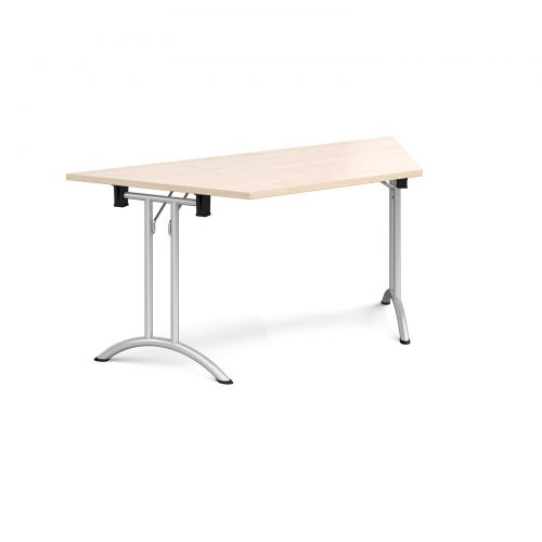Trapezoidal folding leg table with silver legs and curved foot rails 1600mm x 800mm - maple