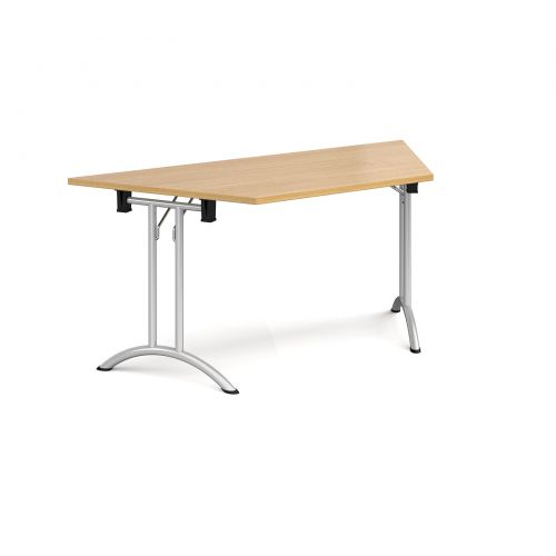Trapezoidal folding leg table with silver legs and curved foot rails 1600mm x 800mm - oak
