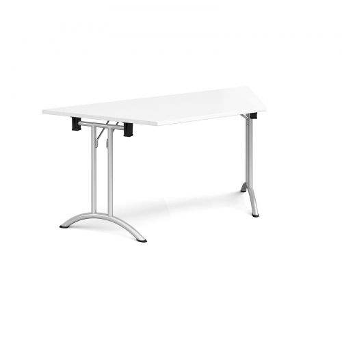 Trapezoidal folding leg table with silver legs and curved foot rails 1600mm x 800mm - white