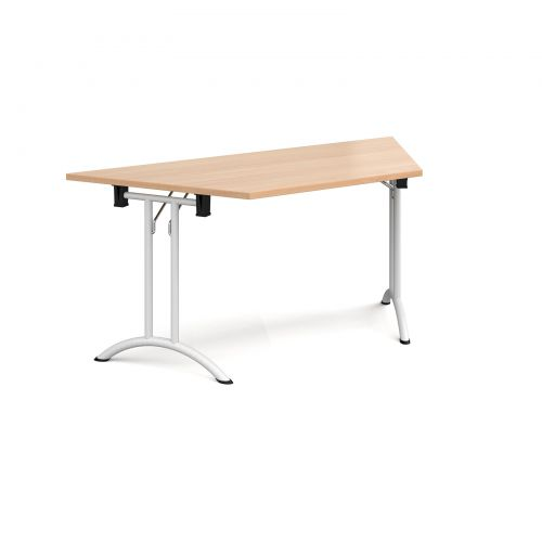 Trapezoidal folding leg table with white legs and curved foot rails 1600mm x 800mm - beech