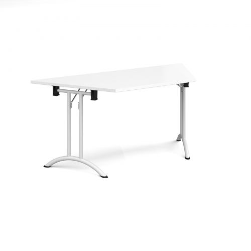 Trapezoidal folding leg table with white legs and curved foot rails 1600mm x 800mm - white