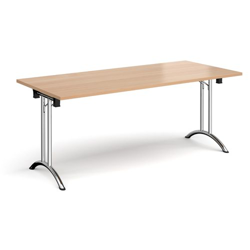 Rectangular folding leg table with chrome legs and curved foot rails 1800mm x 800mm - beech