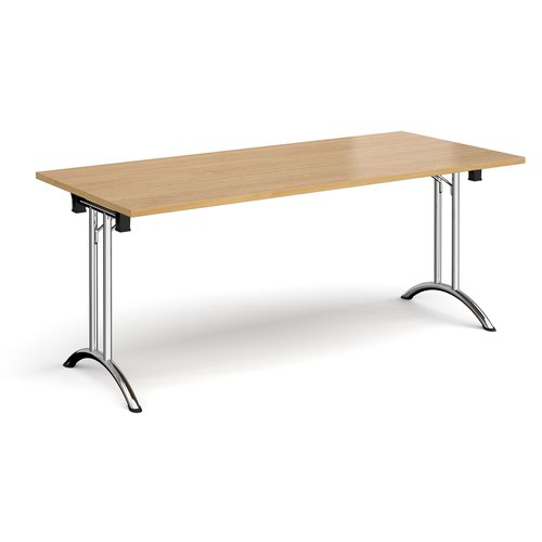 Rectangular folding leg table with chrome legs and curved foot rails 1800mm x 800mm - oak