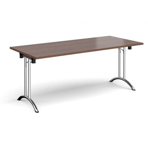 Rectangular folding leg table with chrome legs and curved foot rails 1800mm x 800mm - walnut