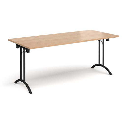 Rectangular folding leg table with black legs and curved foot rails 1800mm x 800mm - beech