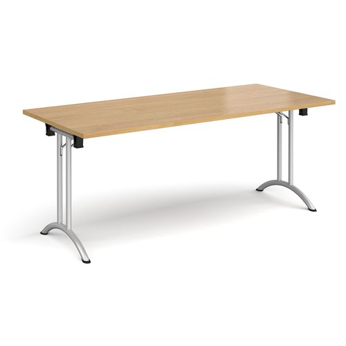 Rectangular folding leg table with silver legs and curved foot rails 1800mm x 800mm - oak