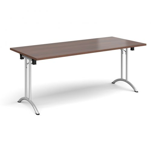 Rectangular folding leg table with silver legs and curved foot rails 1800mm x 800mm - walnut