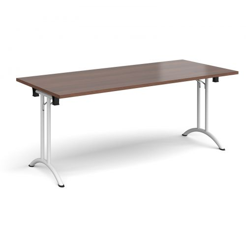 Rectangular folding leg table with white legs and curved foot rails 1800mm x 800mm - walnut