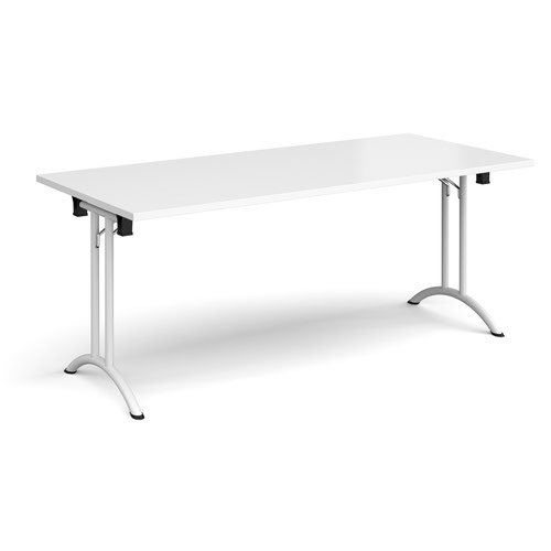 Rectangular folding leg table with white legs and curved foot rails 1800mm x 800mm - white