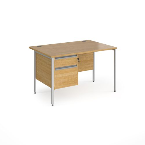 Contract 25 straight desk with 2 drawer pedestal and silver H-Frame leg 1200mm x 800mm - oak top