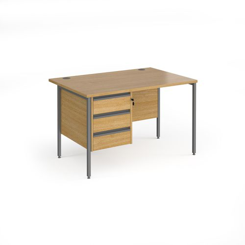 Contract 25 straight desk with 3 drawer pedestal and graphite H-Frame leg 1200mm x 800mm - oak top