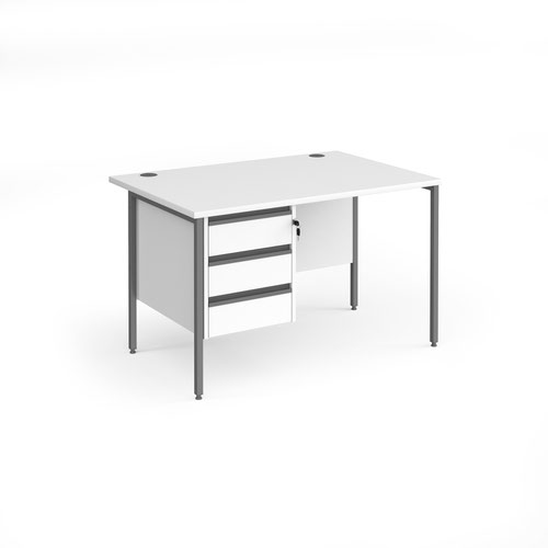 Contract 25 straight desk with 3 drawer pedestal and graphite H-Frame leg 1200mm x 800mm - white top