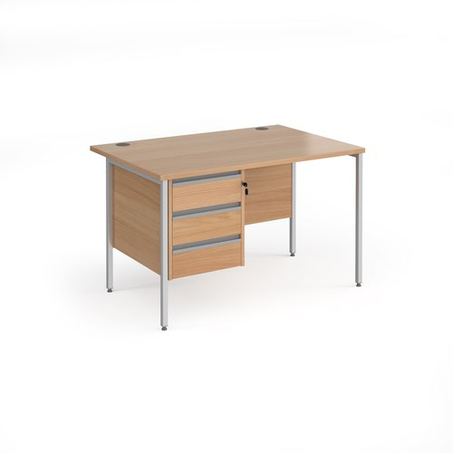 Image for Contract 25 straight desk with 3 drawer pedestal and silver H-Frame leg 1200mm x 800mm - beech top