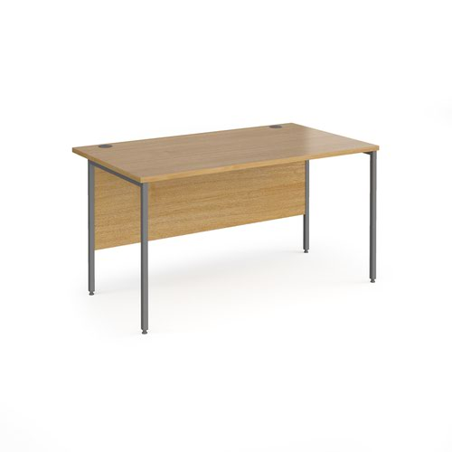 Contract 25 straight desk with graphite H-Frame leg 1400mm x 800mm - oak top