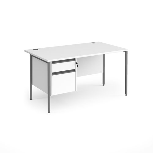 Contract 25 straight desk with 2 drawer pedestal and graphite H-Frame leg 1400mm x 800mm - white top