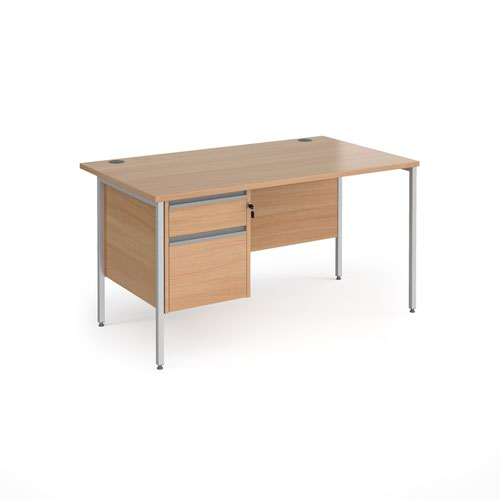 Contract 25 straight desk with 2 drawer pedestal and silver H-Frame leg 1400mm x 800mm - beech top
