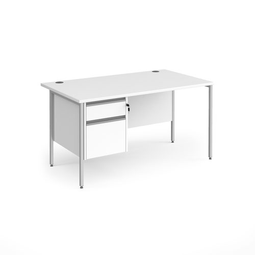 Contract 25 straight desk with 2 drawer pedestal and silver H-Frame leg 1400mm x 800mm - white top