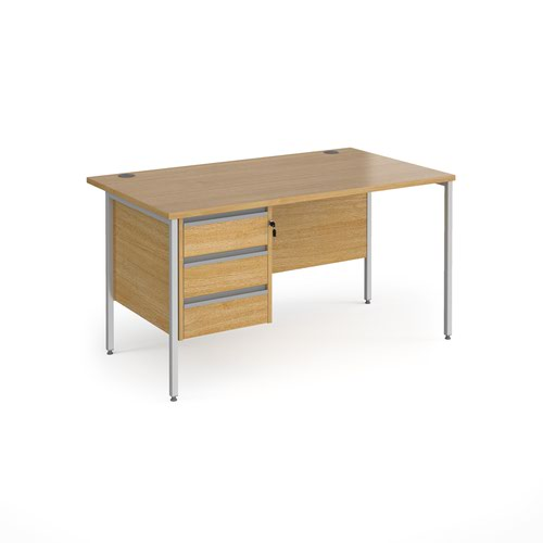 Contract 25 straight desk with 3 drawer pedestal and silver H-Frame leg 1400mm x 800mm - oak top