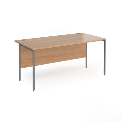 Contract 25 straight desk with graphite H-Frame leg 1600mm x 800mm - beech top