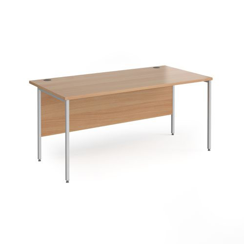 Contract 25 straight desk with silver H-Frame leg 1600mm x 800mm - beech top