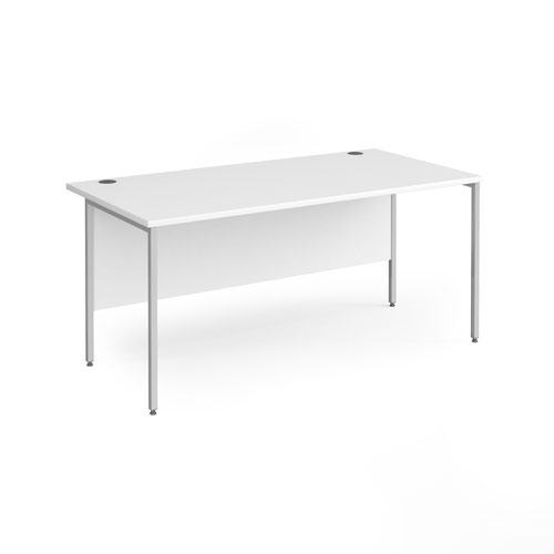 Contract 25 straight desk with silver H-Frame leg 1600mm x 800mm - white top