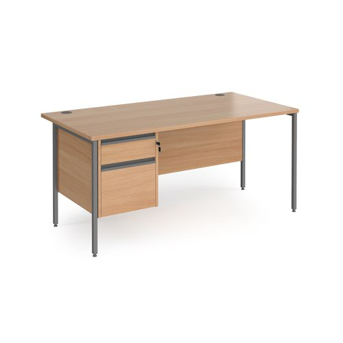 Contract 25 straight desk with 2 drawer pedestal and graphite H-Frame leg 1600mm x 800mm - beech top