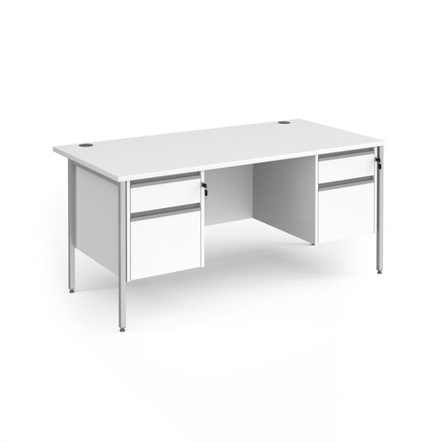 Contract 25 straight desk with 2 and 2 drawer pedestals and silver H-Frame leg 1600mm x 800mm - white top