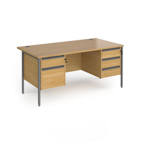 Contract 25 straight desk with 2 and 3 drawer pedestals and graphite H-Frame leg 1600mm x 800mm - oak top
