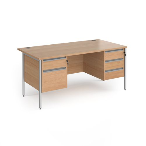 Contract 25 straight desk with 2 and 3 drawer pedestals and silver H-Frame leg 1600mm x 800mm - beech top