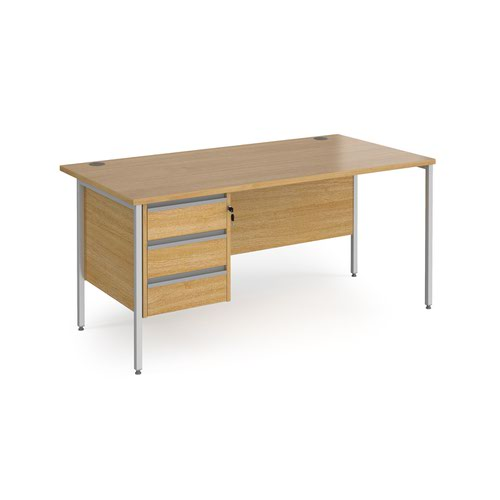Contract 25 straight desk with 3 drawer pedestal and silver H-Frame leg 1600mm x 800mm - oak top