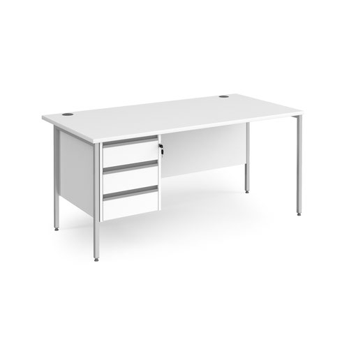 Contract 25 straight desk with 3 drawer pedestal and silver H-Frame leg 1600mm x 800mm - white top