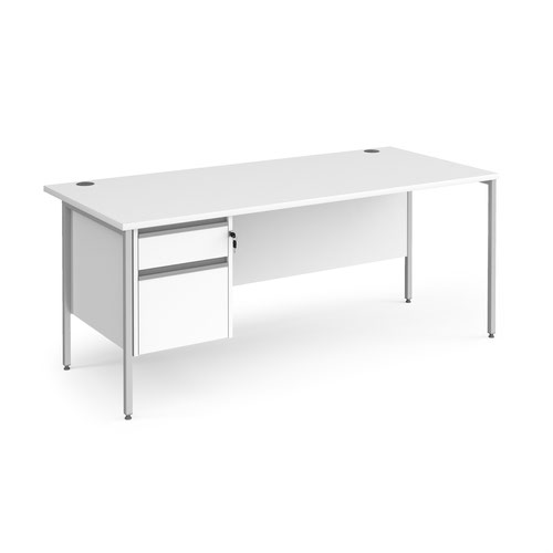 Contract 25 straight desk with 2 drawer pedestal and silver H-Frame leg 1800mm x 800mm - white top