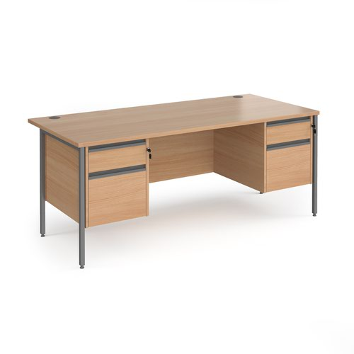 Contract 25 straight desk with 2 and 2 drawer pedestals and graphite H-Frame leg 1800mm x 800mm - beech top