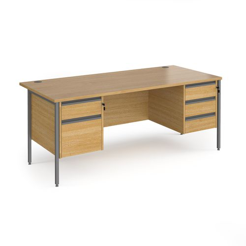 Contract 25 straight desk with 2 and 3 drawer pedestals and graphite H-Frame leg 1800mm x 800mm - oak top